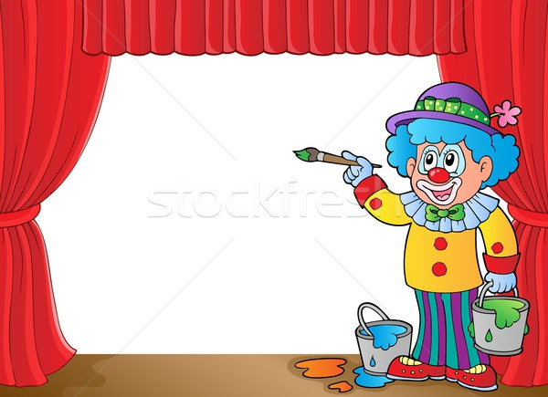 Clown with paints on stage Stock photo © clairev