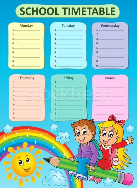 Heti iskola időbeosztás téma égbolt gyerekek Stock fotó © clairev