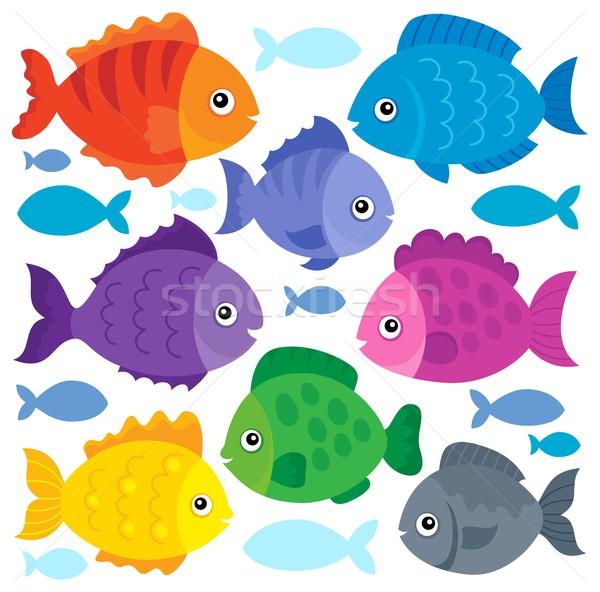 Stylizowany zestaw ryb zwierząt tropikalnych Zdjęcia stock © clairev