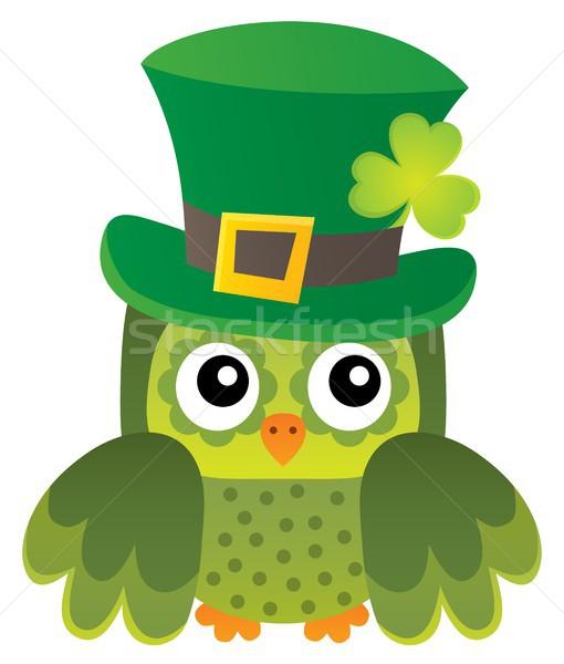 Dia de São Patricio coruja imagem pássaro trevo seis Foto stock © clairev