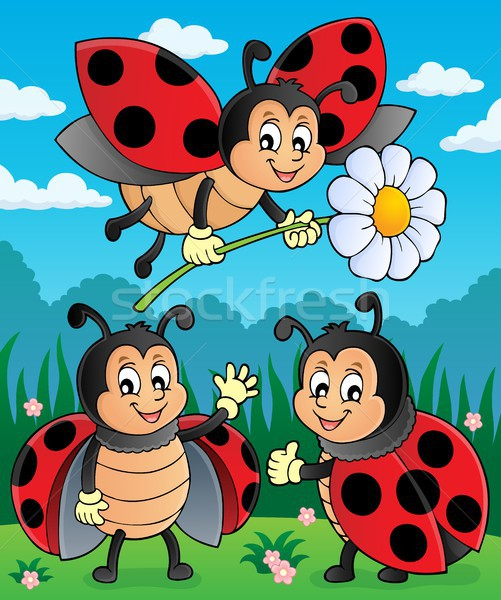 Happy ladybugs on meadow image 2 Stock photo © clairev