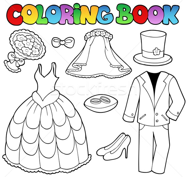 Coloring book with wedding clothes Stock photo © clairev
