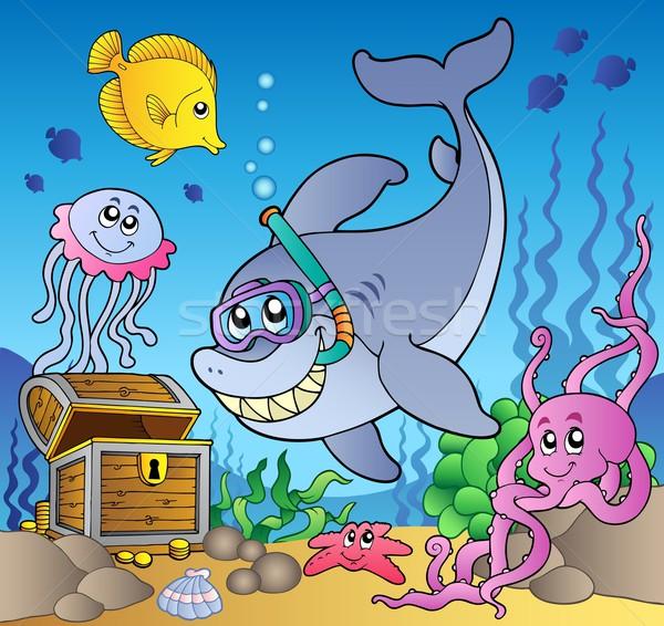 サメ ダイバー 魚 抽象的な 海 ストックフォト © clairev