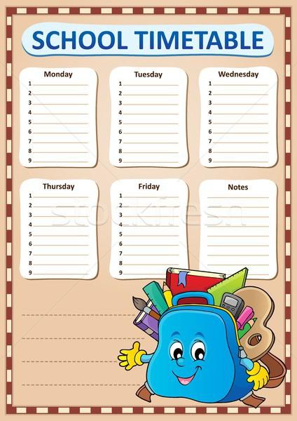 Hebdomadaire école calendrier modèle main visage Photo stock © clairev