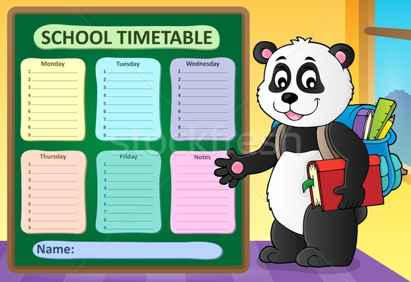Weekly school timetable template 6 Stock photo © clairev