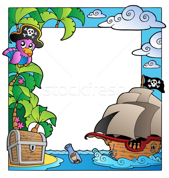 Frame with sea and pirate theme 1 Stock photo © clairev