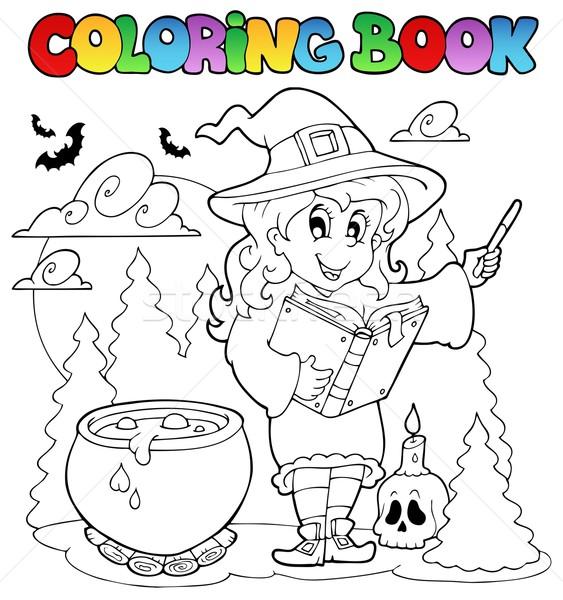 Kifestőkönyv halloween karakter könyv terv festék Stock fotó © clairev