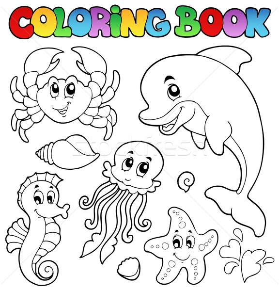 Stock Photo Vector Illustration Coloring Book Various Sea Animals 2