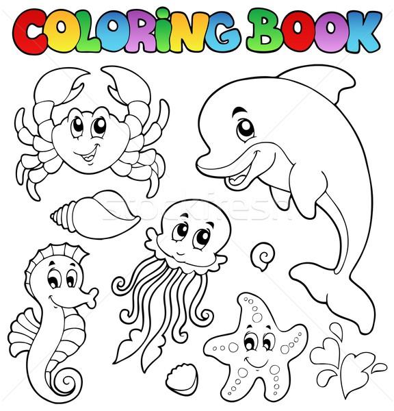 Kifestőkönyv különböző tengeri állatok mosoly könyv hal Stock fotó © clairev