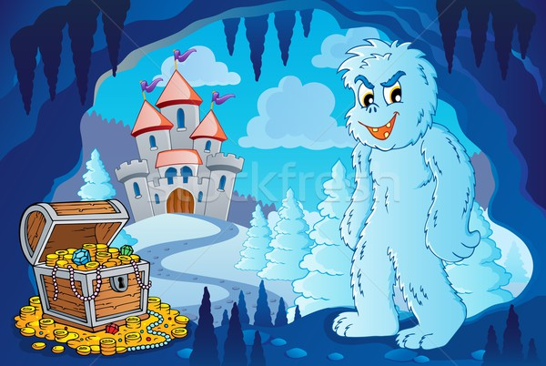 Winter cave with yeti Stock photo © clairev