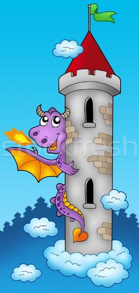 ストックフォト: 紫色 · 龍 · 城 · 塔 · 色 · 実例