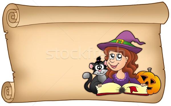 Tekercs halloween lány szín illusztráció nők Stock fotó © clairev