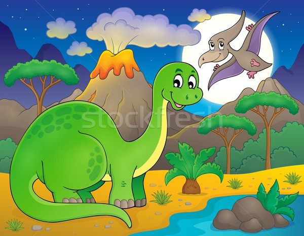 Night landscape with dinosaur theme 6 Stock photo © clairev