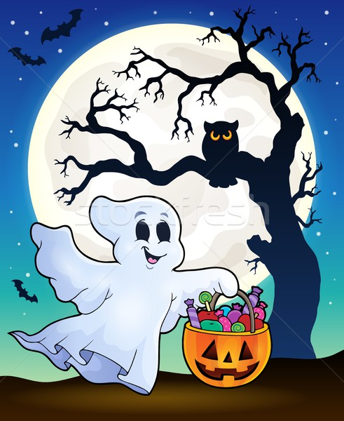 Halloween ghost with tree silhouette Stock photo © clairev