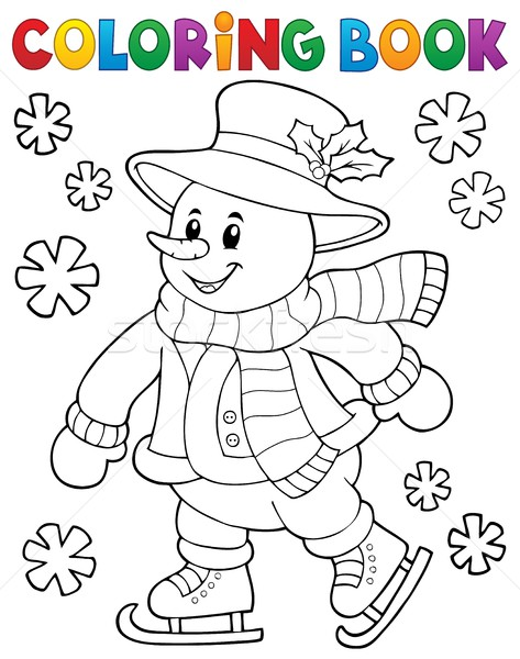 Coloring book skating snowman theme 1 Stock photo © clairev