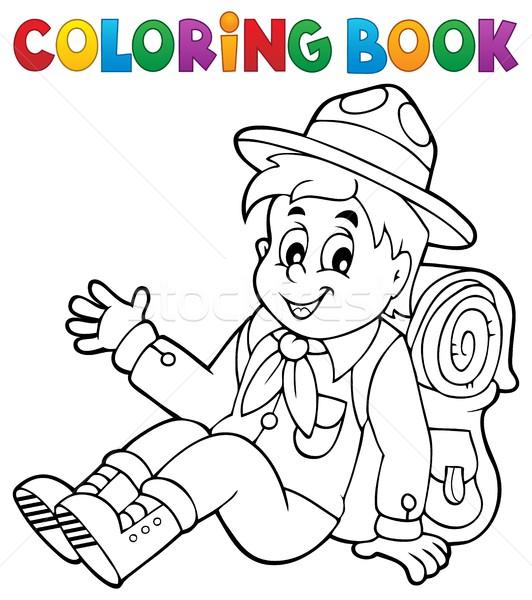 Boyama Kitabı Izci Erkek Gülümseme Kitap çocuk Vektör