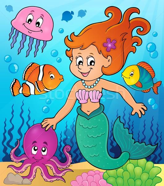 Zeemeermin onderwerp afbeelding vrouw glimlach zee Stockfoto © clairev