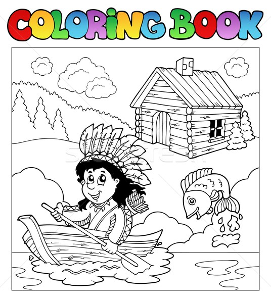 Coloring book with Indian in boat Stock photo © clairev