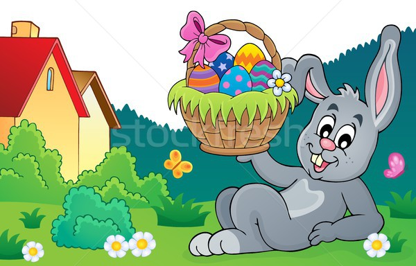 Bunny holding Easter basket theme 8 Stock photo © clairev