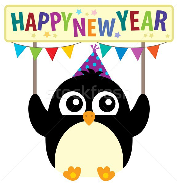 с Новым годом Cute пингвин птица празднования события Сток-фото © clairev