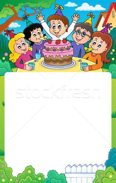 Gyerekek buli téma keret gyerekek gyermek Stock fotó © clairev