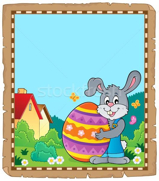 Pergamen húsvéti nyuszi téma papír boldog nyúl Stock fotó © clairev