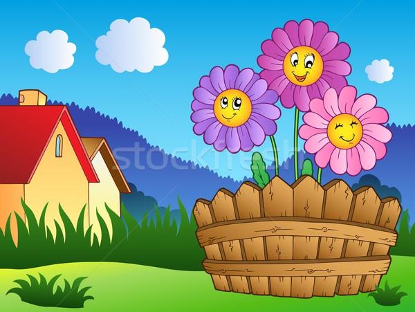 Stok fotoğraf: çayır · papatyalar · çit · çiçekler · bahar · mutlu