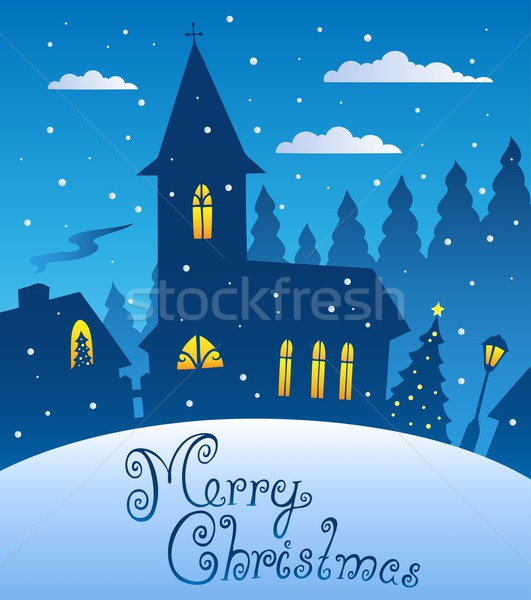 Merry Christmas evening scene 1 Stock photo © clairev