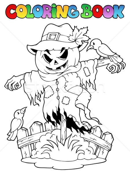 Coloring book Halloween scarecrow Stock photo © clairev