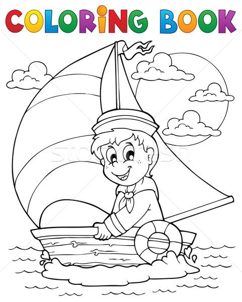 Libro da colorare marinaio sorriso libro bambino vernice Foto d'archivio © clairev