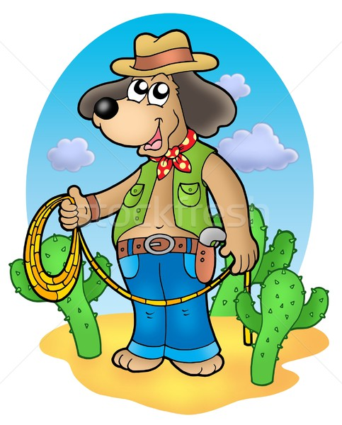 Cowboy dog with lasso in desert Stock photo © clairev