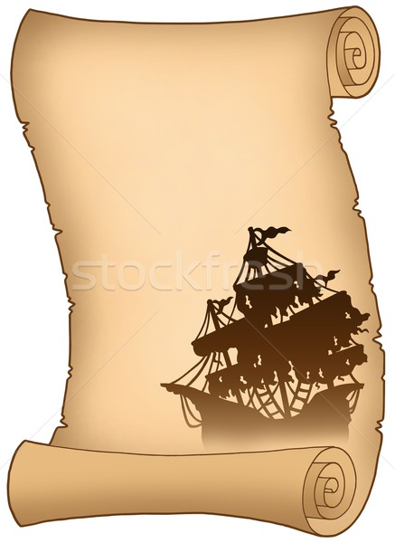 Old scroll with mysterious ship silhouette Stock photo © clairev