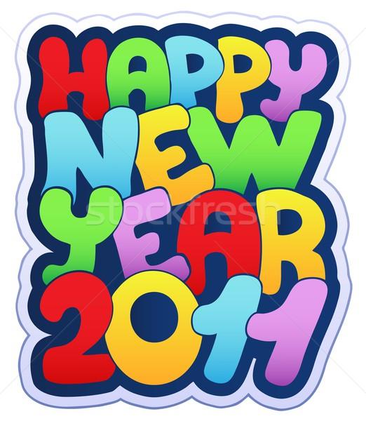 Feliz año nuevo signo 2011 feliz dibujo vacaciones Foto stock © clairev