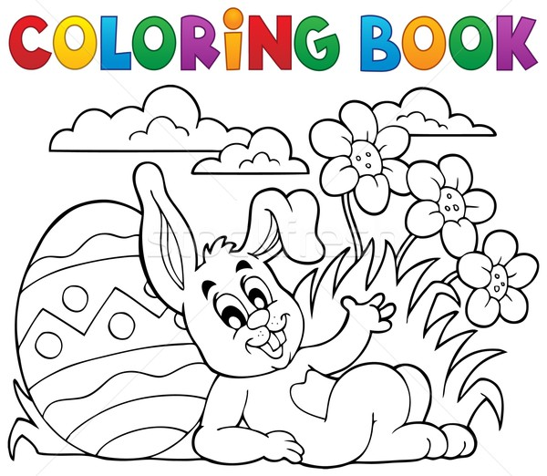 Coloring book Easter rabbit theme 2 Stock photo © clairev
