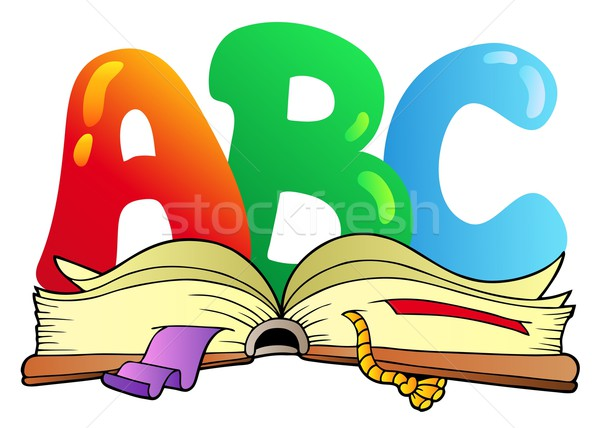 Cartoon ABC letters with open book Stock photo © clairev
