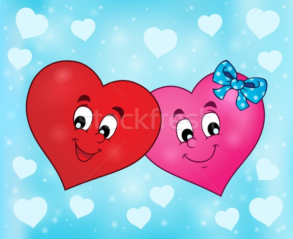 Two overlapping stylized hearts theme 2 Stock photo © clairev