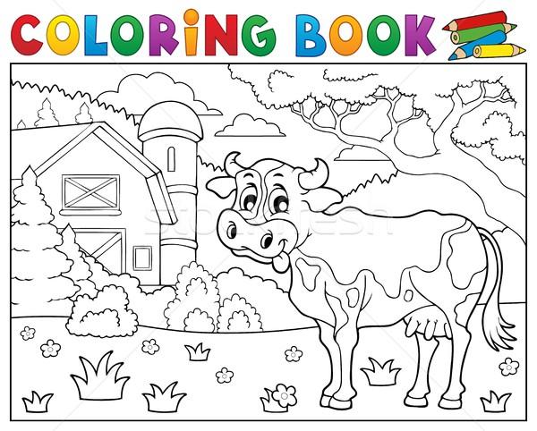Coloring book cow near farm theme 2 Stock photo © clairev