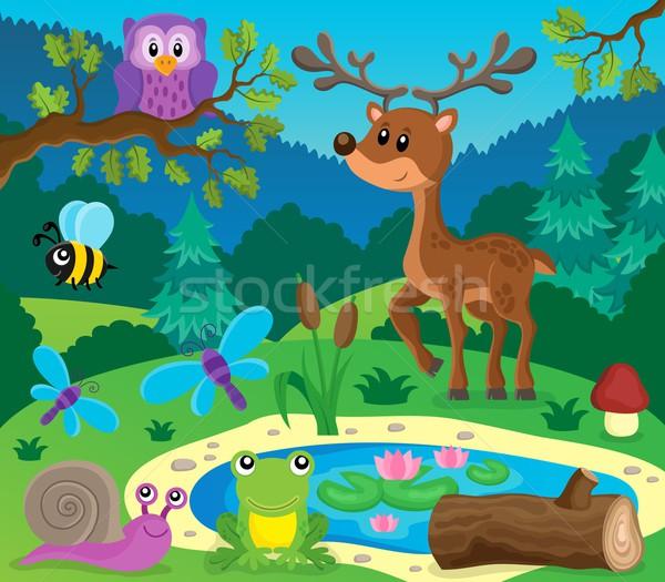 Floresta animais tópico imagem madeira natureza Foto stock © clairev
