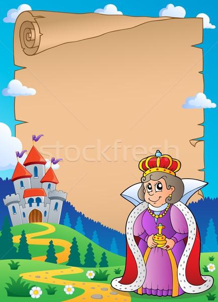 Pergamen királynő kastély boldog építészet ruházat Stock fotó © clairev