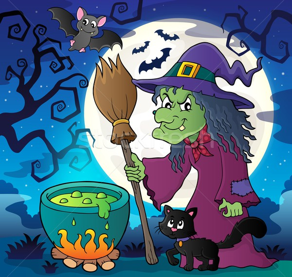 Witch with cat and broom theme image 2 Stock photo © clairev