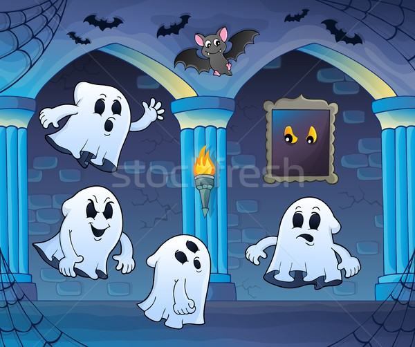 Ghosts in haunted castle theme 3 Stock photo © clairev