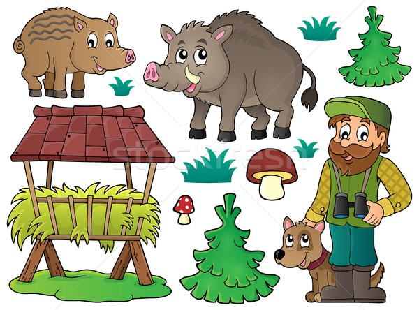 Forester and wildlife theme set 1 Stock photo © clairev