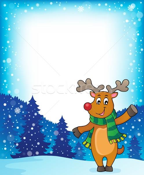 Stilizate Crăciun cerb imagine fericit zăpadă Imagine de stoc © clairev