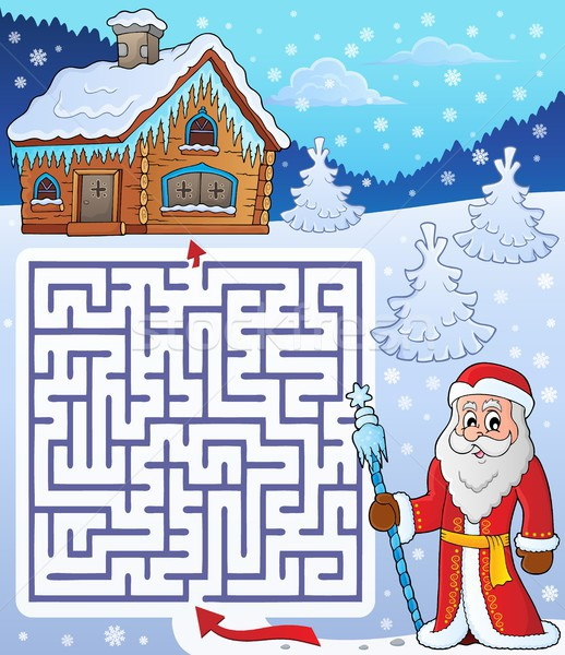 Maze 3 with Father Frost theme Stock photo © clairev