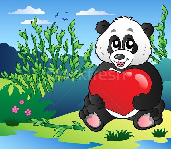 Cartoon panda corazón aire libre sonrisa Foto stock © clairev