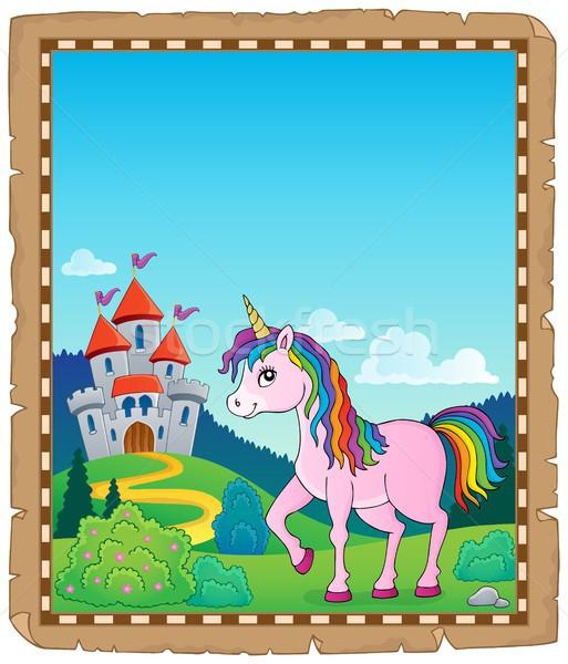 Happy unicorn topic parchment 1 Stock photo © clairev
