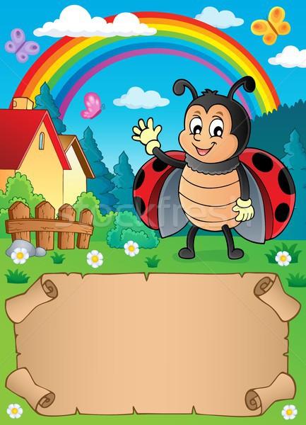 небольшой пергаменте Ladybug бумаги природы Сток-фото © clairev