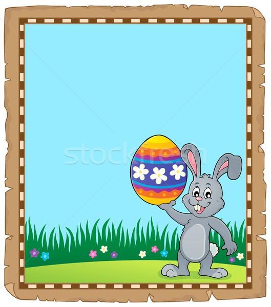 Pergamino Conejo de Pascua tema papel feliz conejo Foto stock © clairev