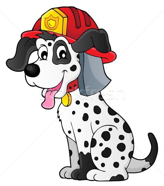 Tűzoltó kutya művészet szolgáltatás viselet rajz Stock fotó © clairev