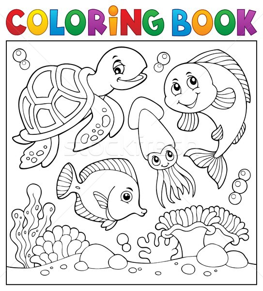 Coloring book sea life theme 1 Stock photo © clairev